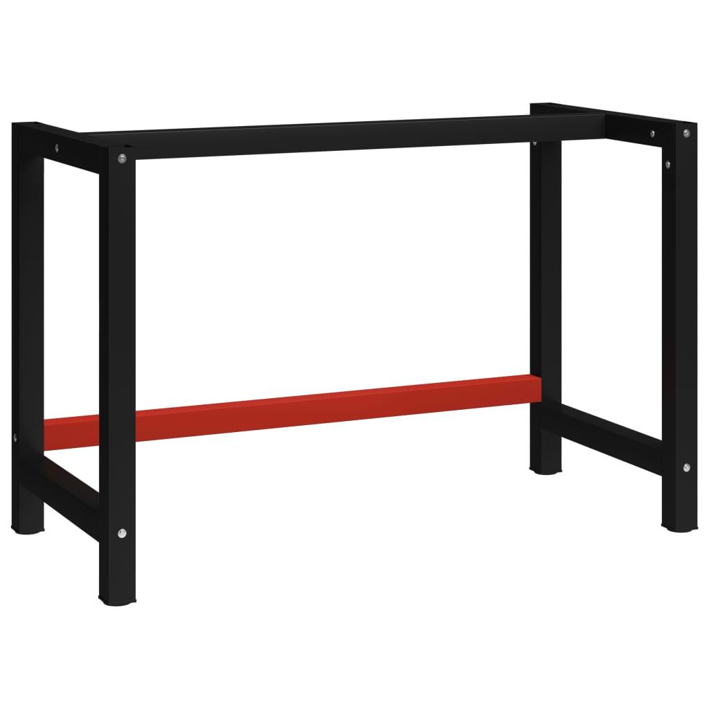 vidaXL Cadru metalic banc de lucru, 120x57x79 cm, negru și roșu imagine vidaxl.ro
