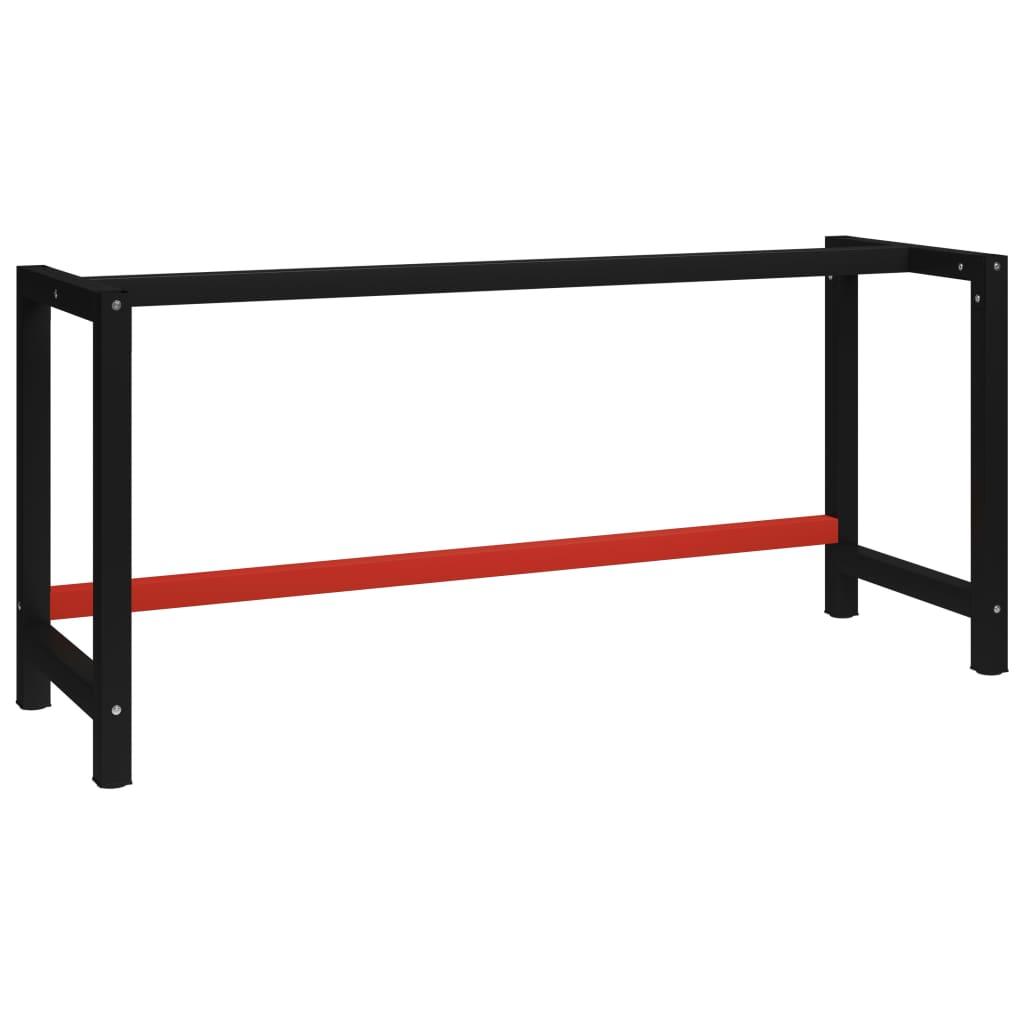 vidaXL Kovový rám pracovního stolu 175 x 57 x 79 cm černá a červená