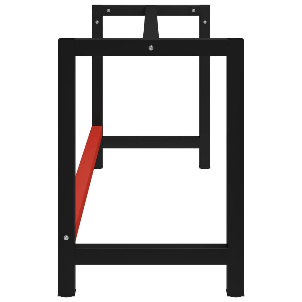 vidaXL Werkbankframe 175x57x79 cm metaal zwart en rood