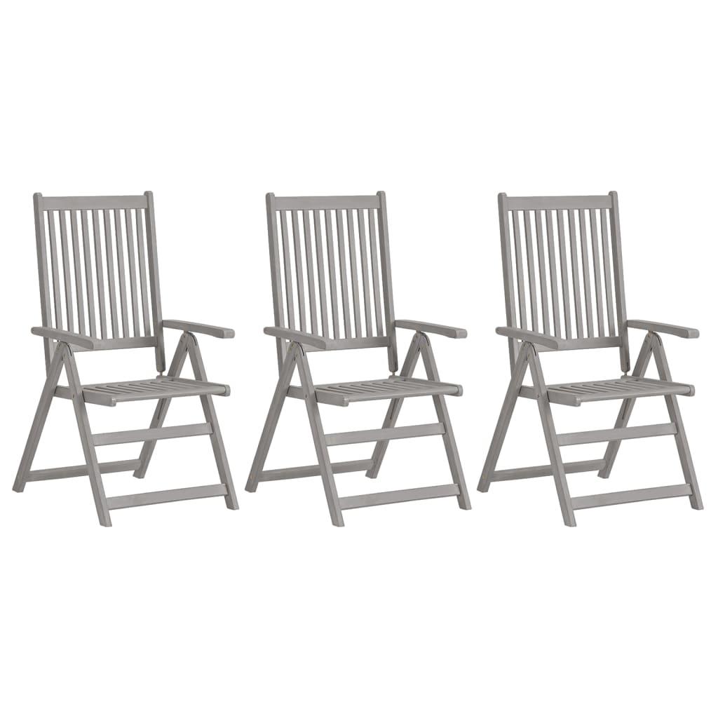 vidaXL lænestole til haven 3 stk. massivt akacietræ grå