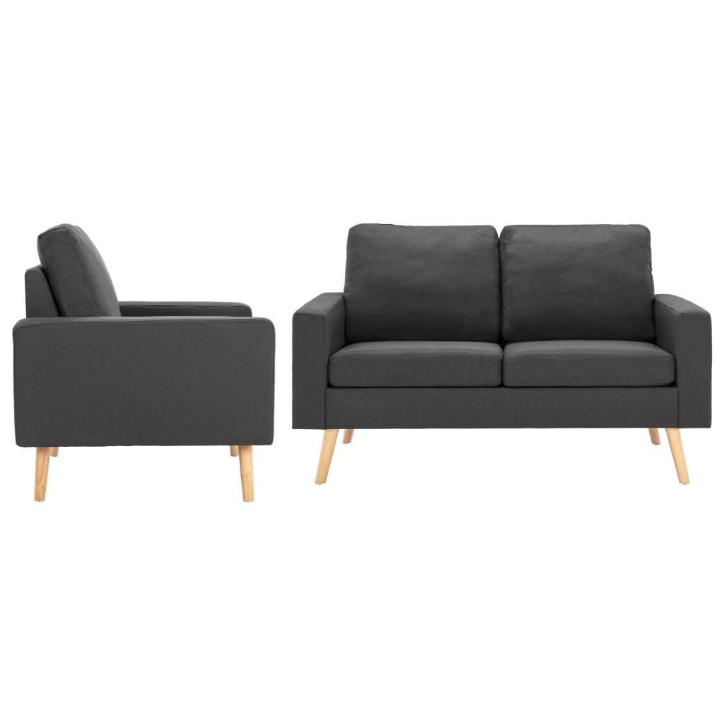 vidaXL Set de canapele, 2 piese, gri închis, material textil poza 2021 vidaXL