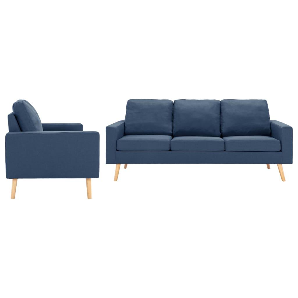 vidaXL Set de canapele, 2 piese, albastru, material textil imagine vidaxl.ro