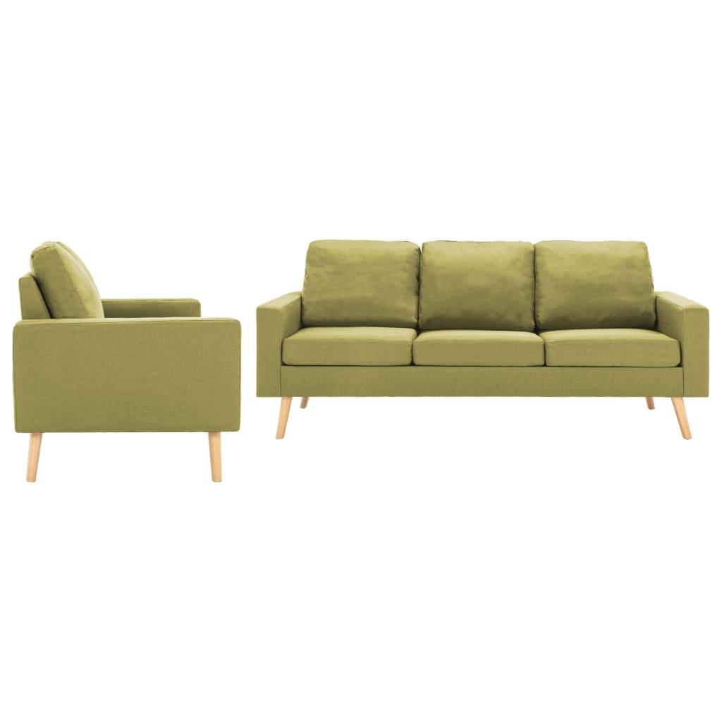vidaXL Set de canapele, 2 piese, verde, material textil poza vidaxl.ro