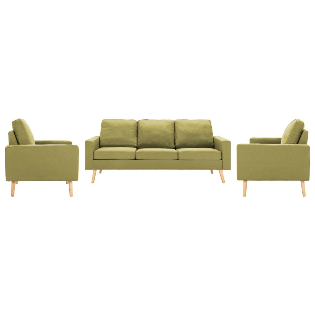 vidaXL Set de canapele, 3 piese, verde, material textil imagine vidaxl.ro