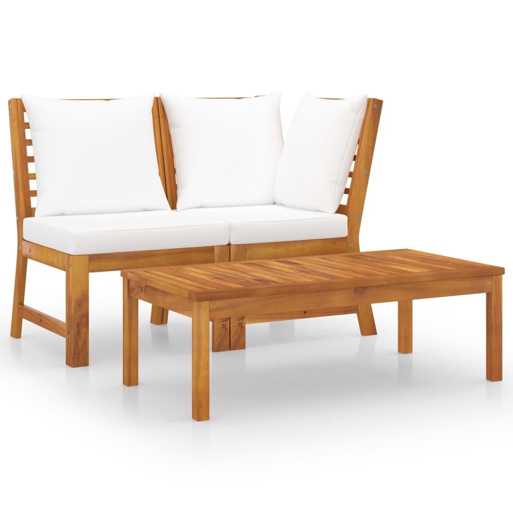vidaXL Set mobilier de grădină, 3 piese, perne crem, lemn masiv acacia vidaxl.ro