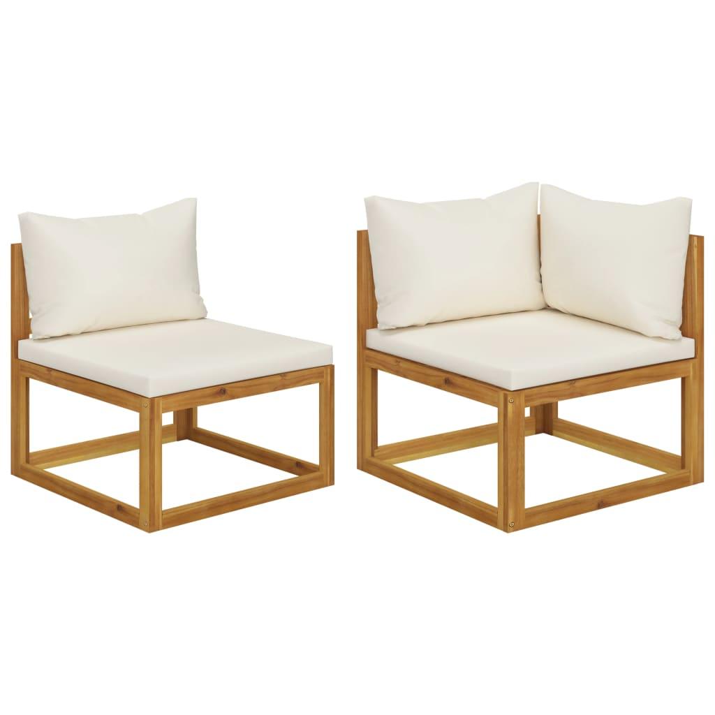 vidaXL Set canapea 2 piese cu perne alb crem, lemn masiv de acacia imagine vidaxl.ro