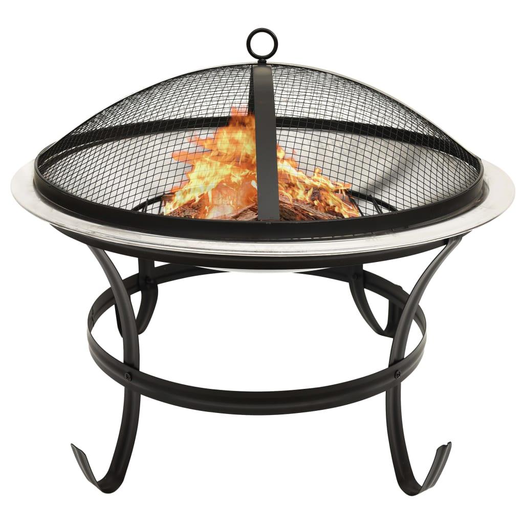 Mísa na oheň a gril s pohrabáčem 56 x 56 x 49 cm nerezová ocel