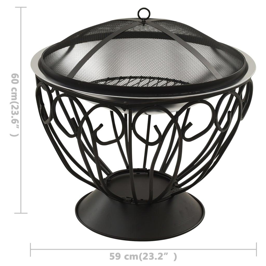 vidaXL Vatră de foc 2-în-1, grătar/vătrai, 59x59x60 cm oțel inoxidabil