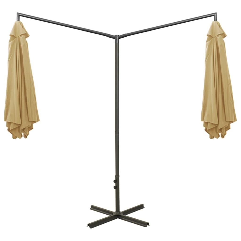 Parasol dubbel met stalen paal 600 cm taupe