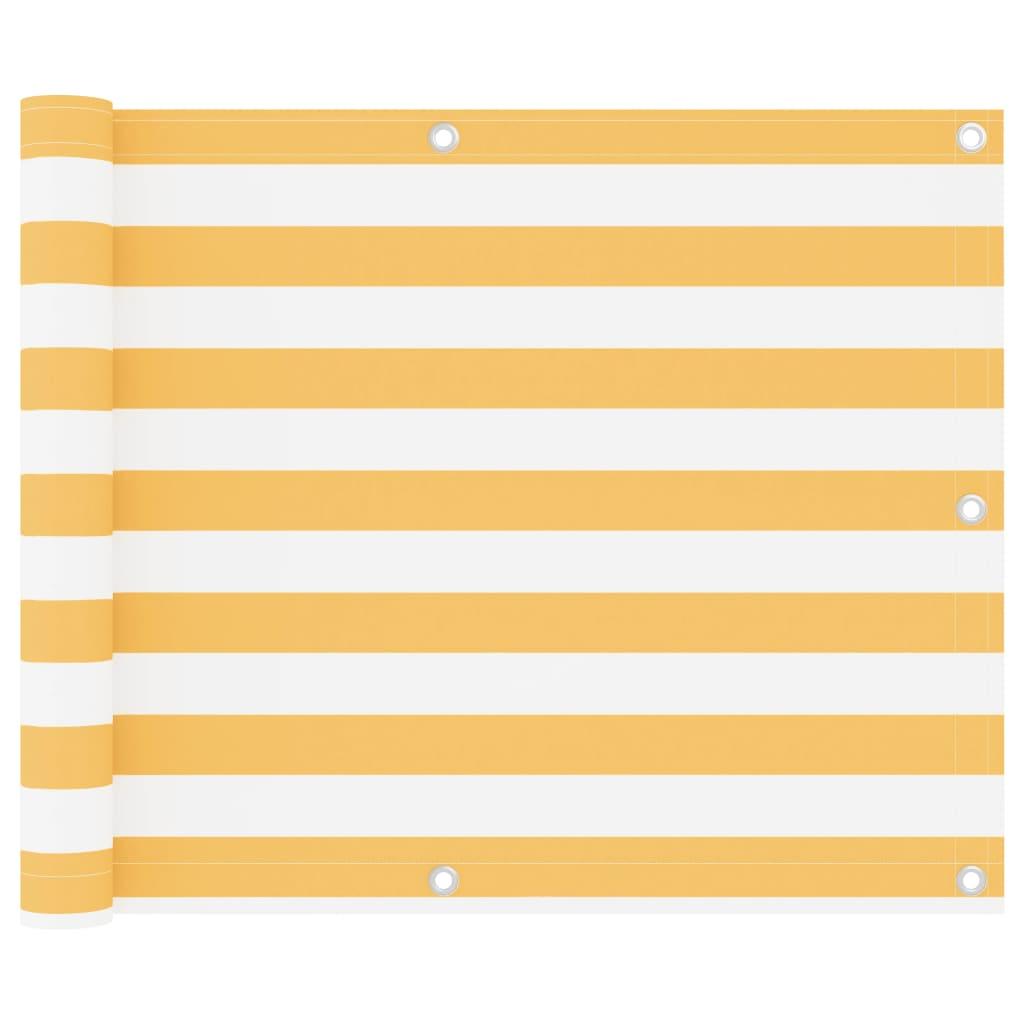 Balkónová zástěna bílo-žlutá 75 x 300 cm oxfordská látka