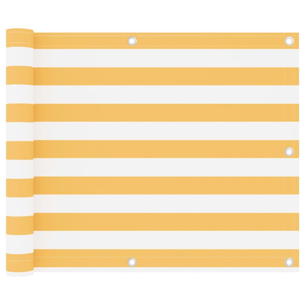 vidaXL Paravan de balcon, alb și galben, 75 x 600 cm, țesătură oxford vidaxl.ro