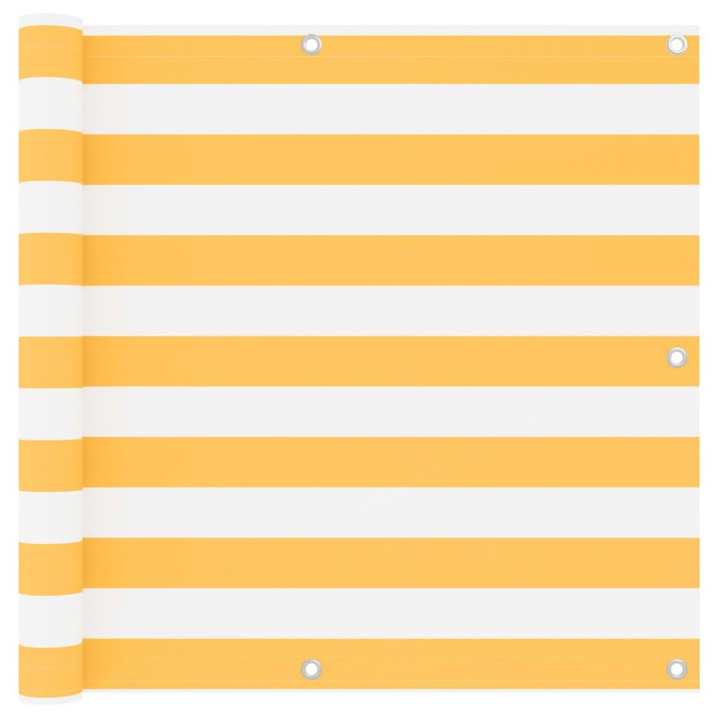 Balkónová zástěna bílá a žlutá 90 x 300 cm oxfordská látka