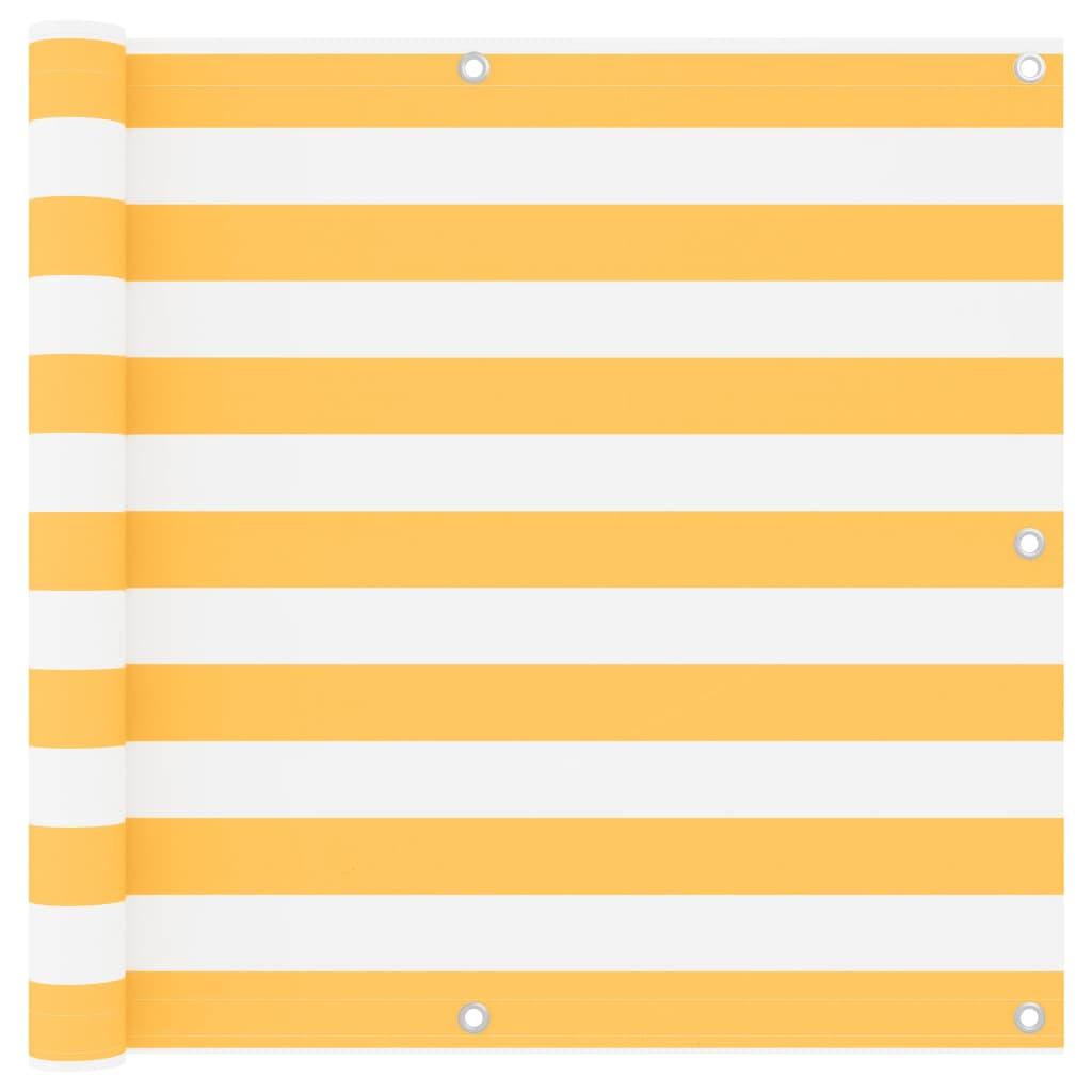 Balkónová zástěna bílá a žlutá 90 x 400 cm oxfordská látka