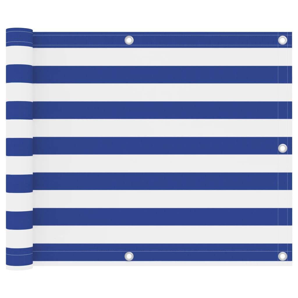Balkónová zástěna bílo-modrá 75 x 400 cm oxfordská látka