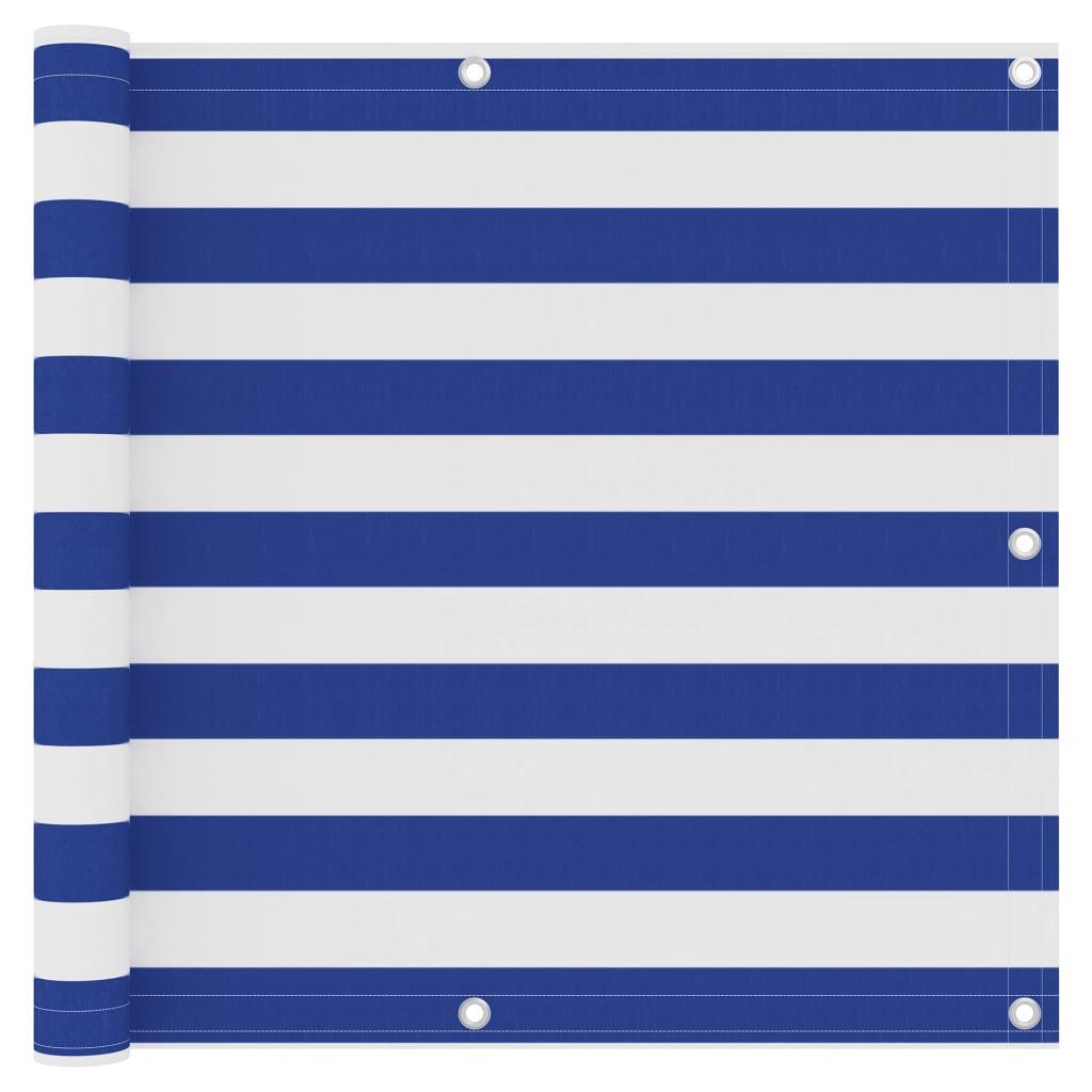 Balkónová zástěna bílá a modrá 90 x 300 cm oxfordská látka