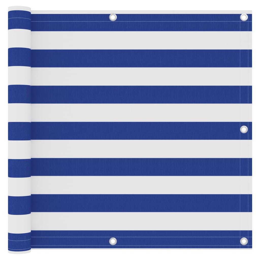 Balkónová zástěna bílá a modrá 90 x 400 cm oxfordská látka