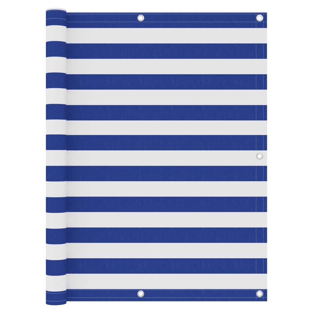 Balkónová zástěna bílo-modrá 120 x 300 cm oxfordská látka