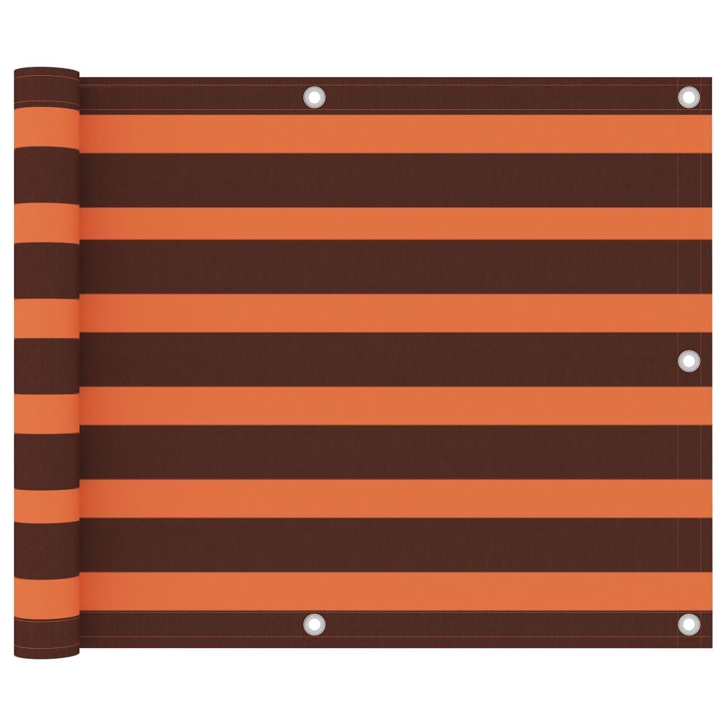 vidaXL Prelată balcon, portocaliu și maro, 75x400 cm, țesătură oxford imagine vidaxl.ro
