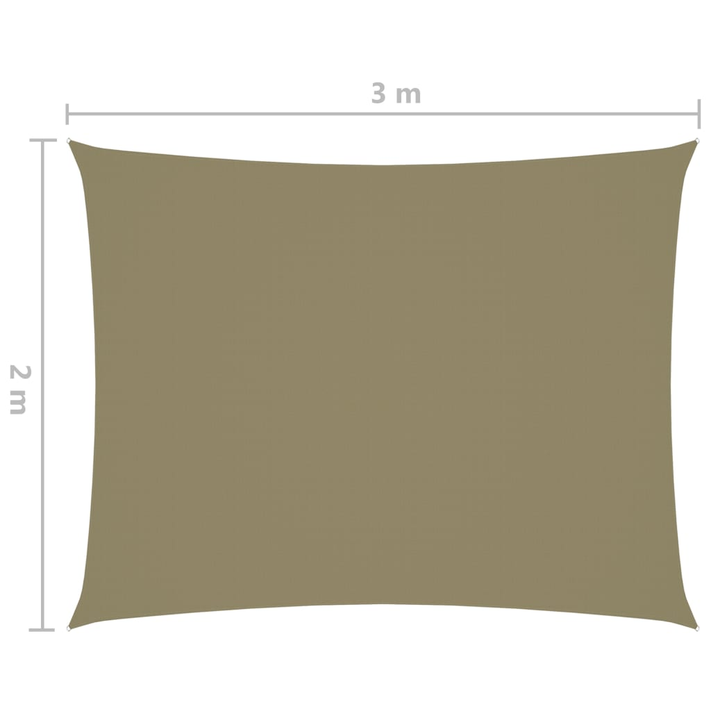 vidaXL Zonnescherm rechthoekig 2x3 m oxford stof beige