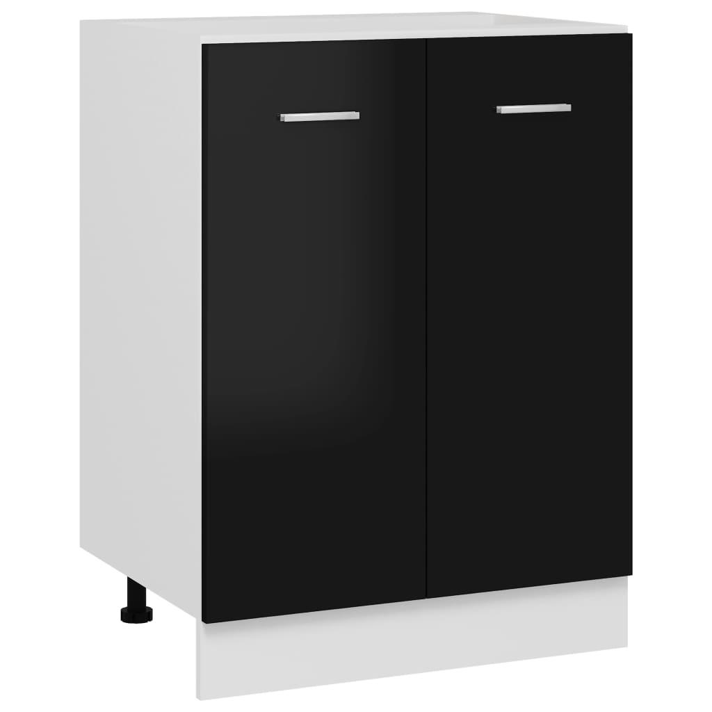 Spodní skříňka černá vysoký lesk 60 x 46 x 81,5 cm dřevotříska