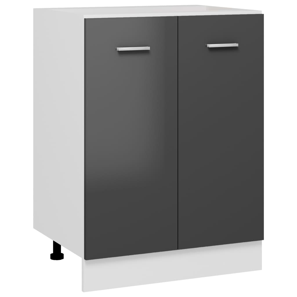 vidaXL Unterschrank Hochglanz-Grau 60x46x81,5 cm Spanplatte