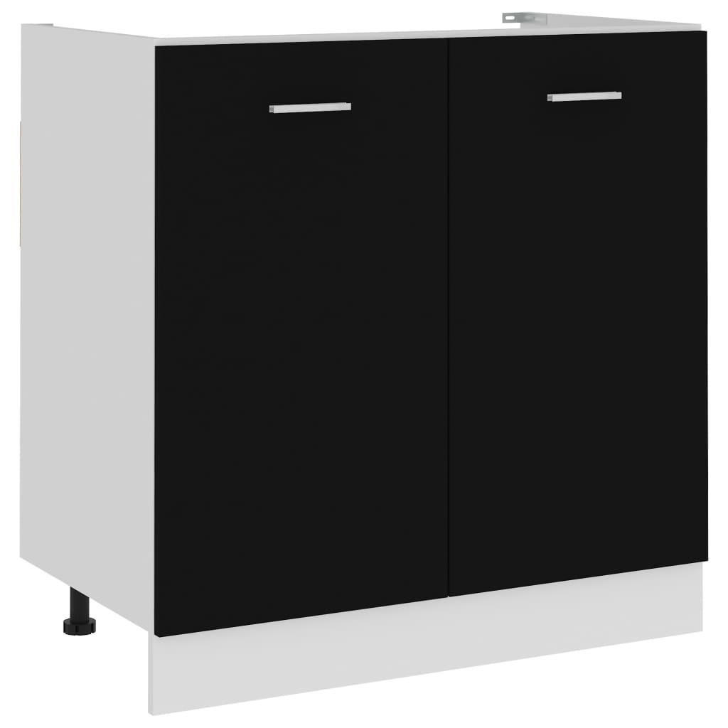 vidaXL Dulap inferior de chiuvetă, negru, 80 x 46 x 81,5 cm, PAL poza 2021 vidaXL