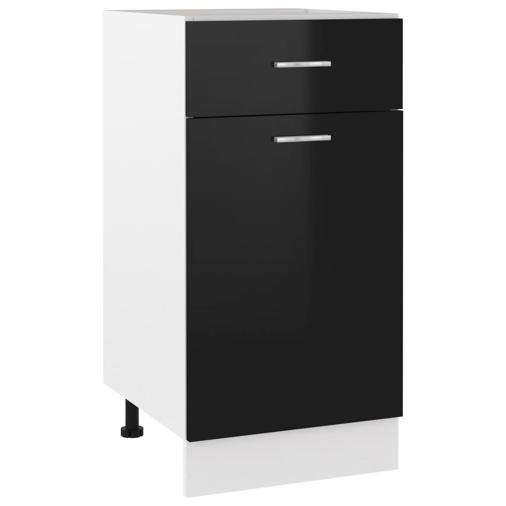 vidaXL Dulap inferior cu sertar, negru extralucios, 40x46x81,5 cm, PAL poza 2021 vidaXL