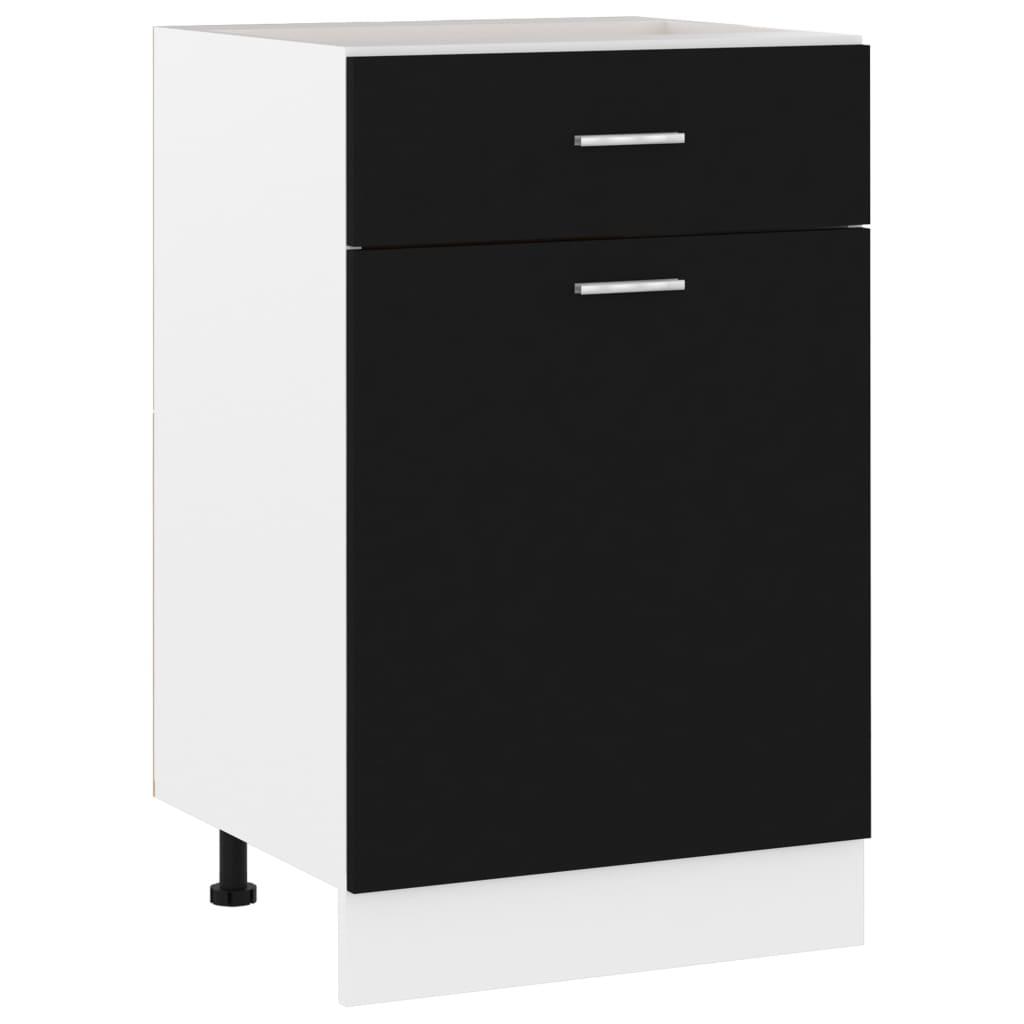 Spodní skříňka se zásuvkou černá 50 x 46 x 81,5 dřevotříska