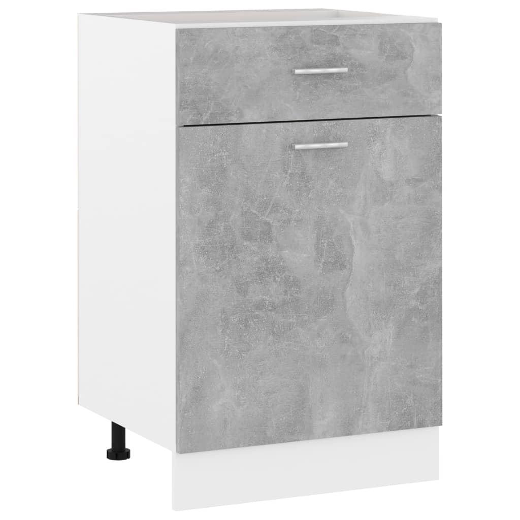 vidaXL Dulap inferior cu sertar, gri beton, 50 x 46 x 81,5 cm, PAL poza 2021 vidaXL