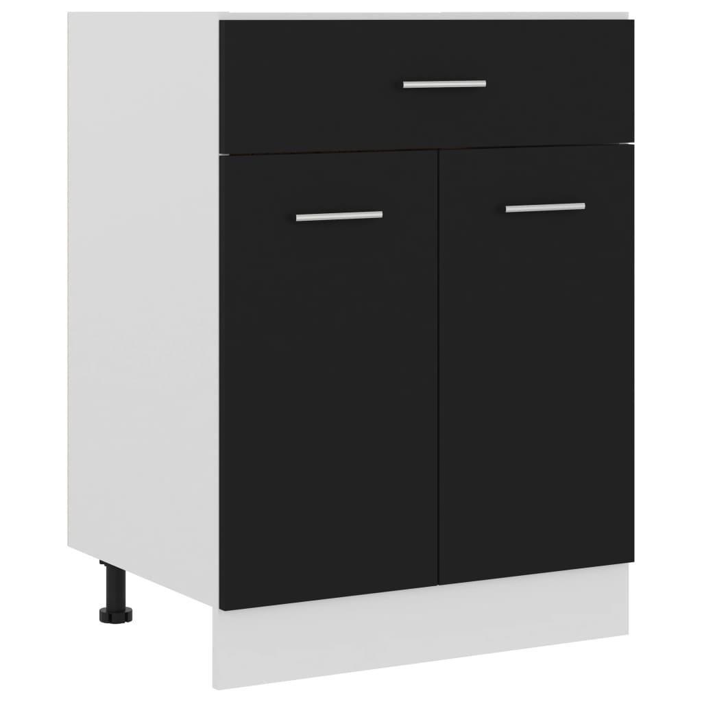 vidaXL Dulap inferior cu sertar, negru, 60 x 46 x 81,5 cm, PAL imagine vidaxl.ro