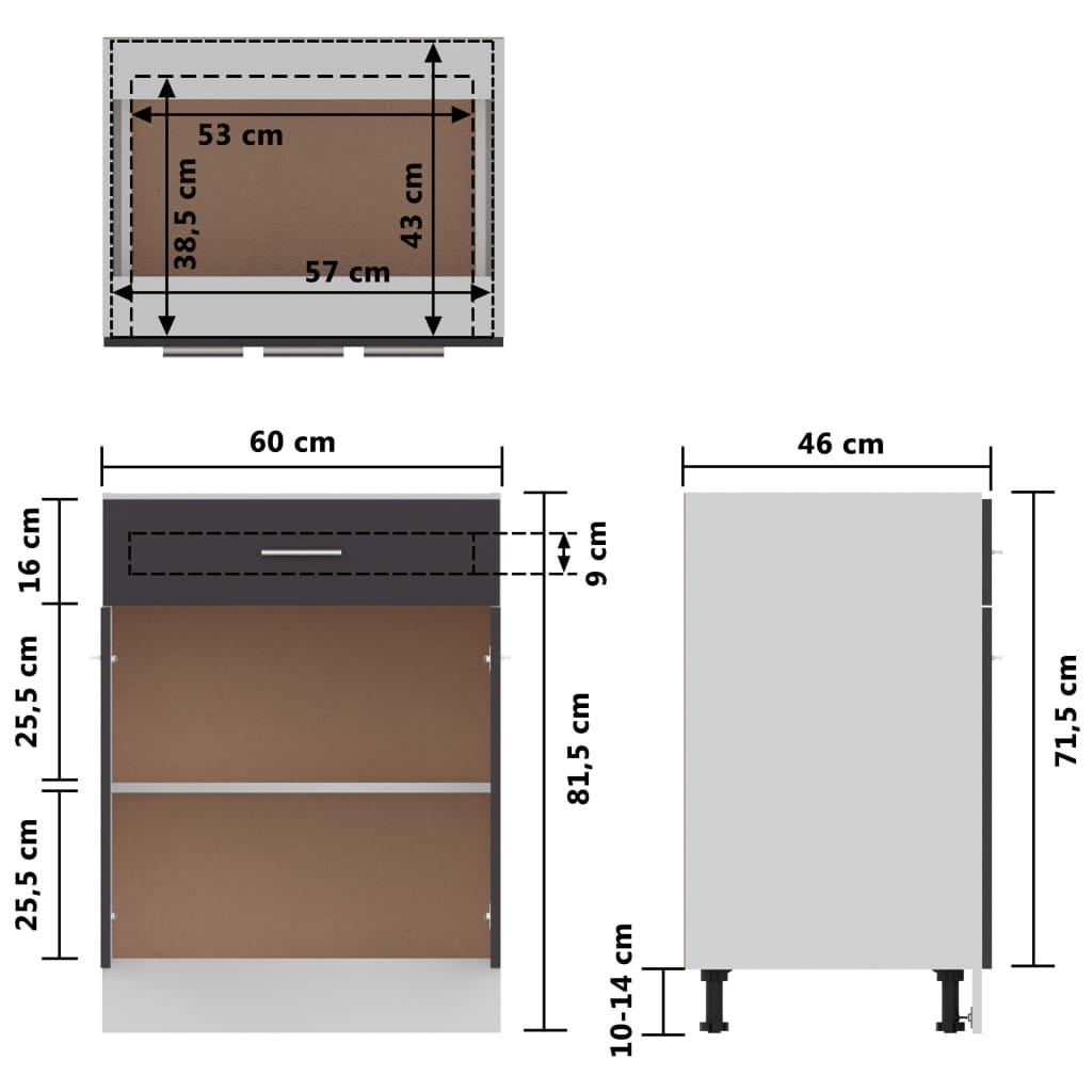 vidaXL Onderkast met lade 60x46x81,5 cm spaanplaat grijs