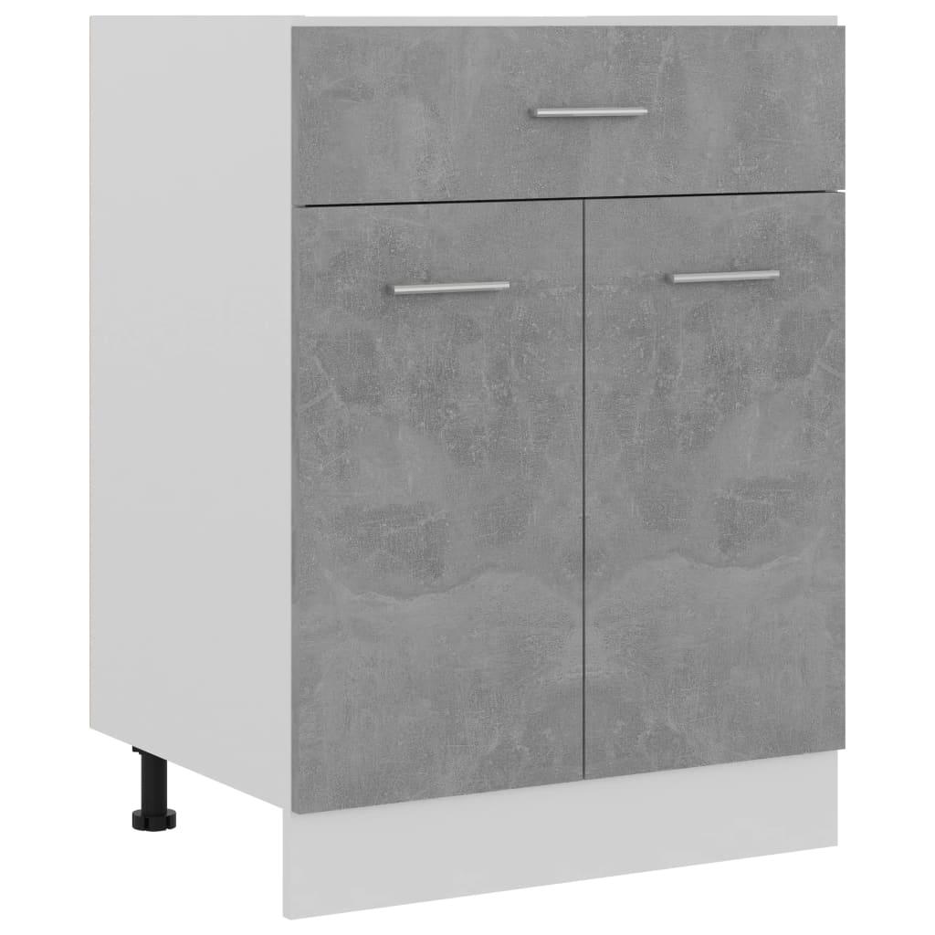 vidaXL Dulap inferior cu sertar, gri beton, 60 x 46 x 81,5 cm, PAL vidaxl.ro