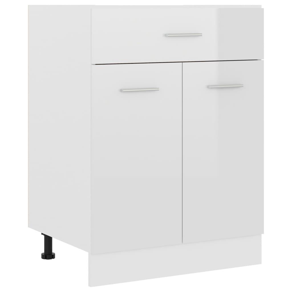 vidaXL Dulap inferior cu sertar, alb extralucios, 60x46x81,5 cm, PAL vidaxl.ro