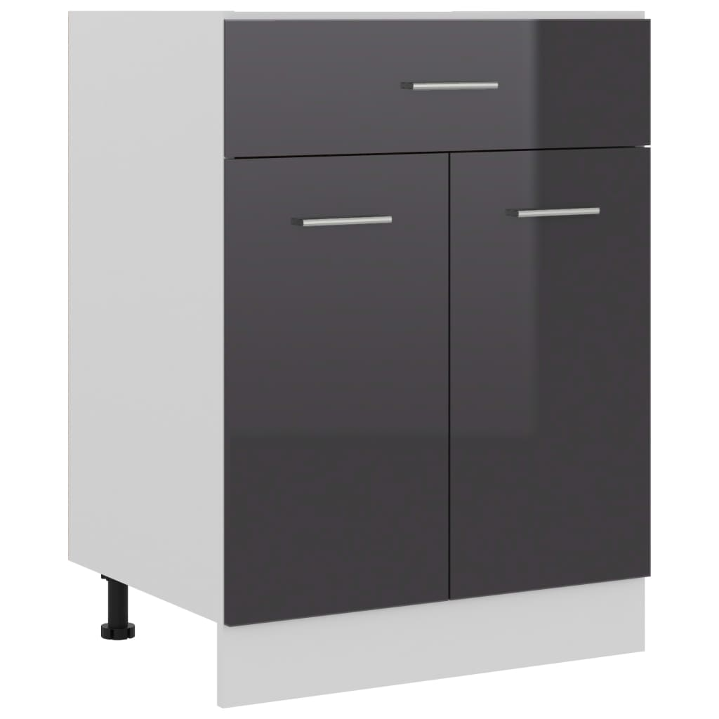 vidaXL Dulap inferior cu sertar, gri extralucios, 60x46x81,5 cm, PAL poza 2021 vidaXL