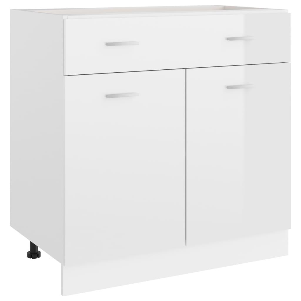 vidaXL Schubunterschrank Hochglanz-Weiß 80x46x81,5 cm Spanplatte