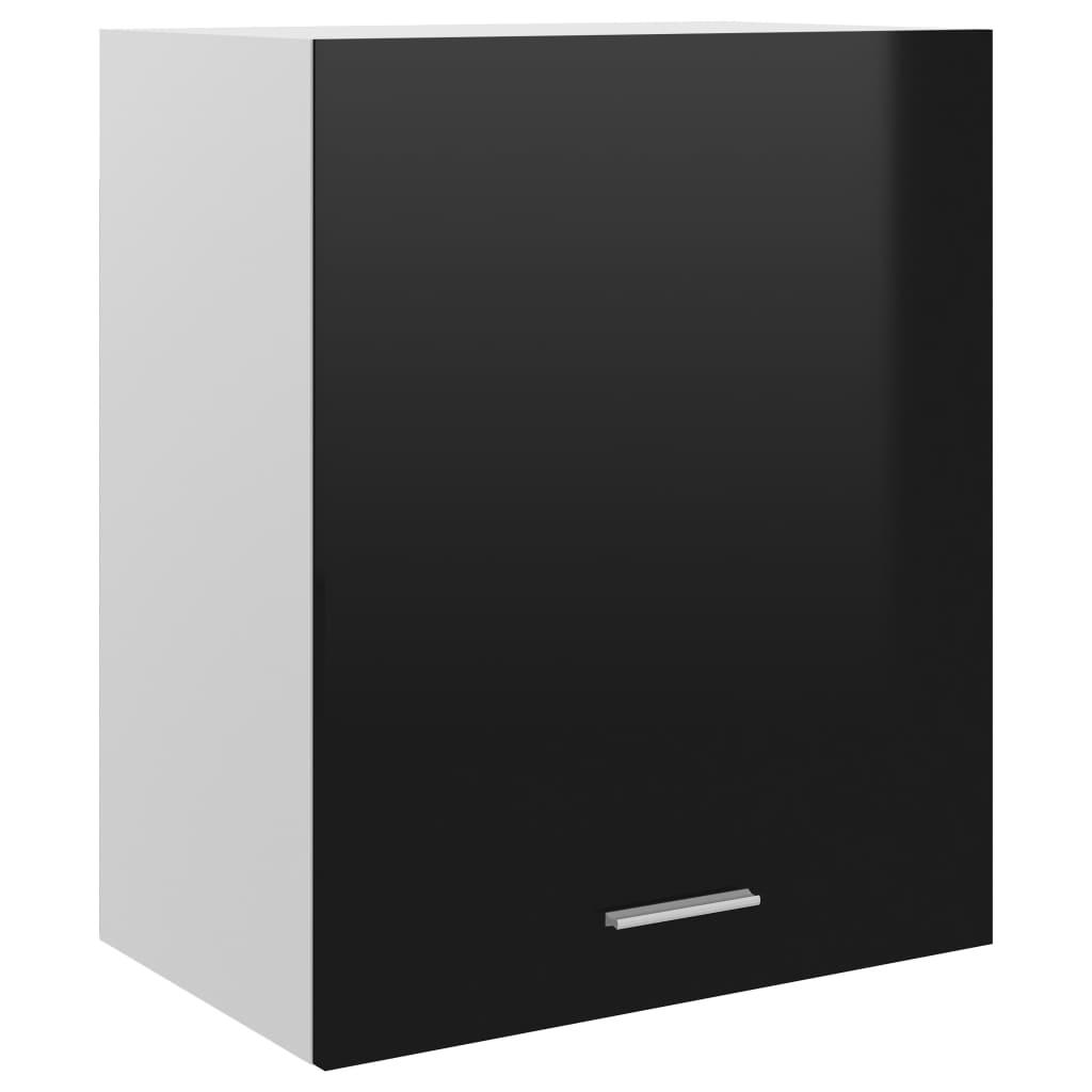 Horní skříňka černá vysoký lesk 50 x 31 x 60 cm dřevotříska