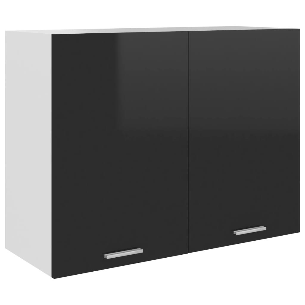 vidaXL Dulap suspendat, negru extralucios, 80 x 31 x 60 cm, PAL vidaxl.ro