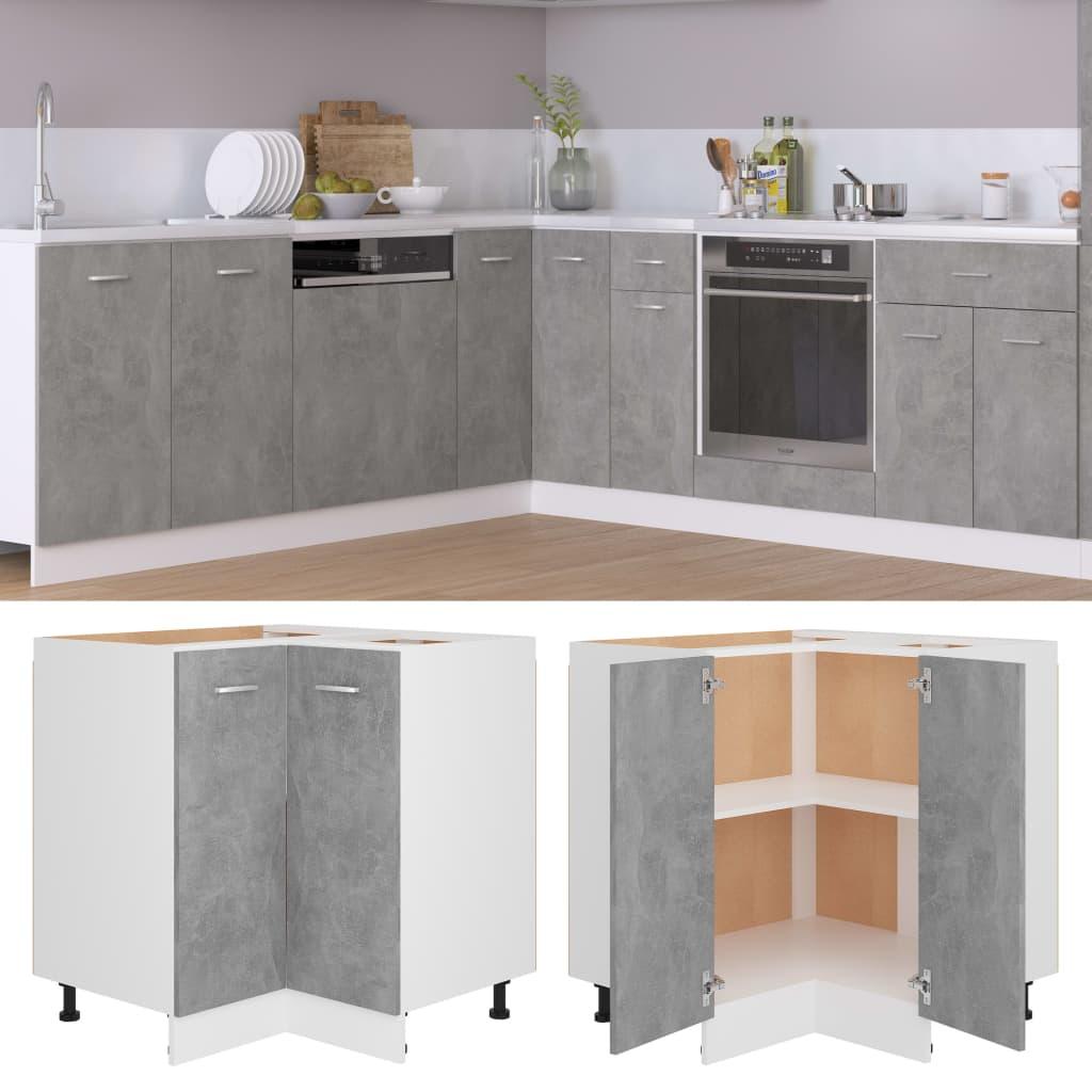 vidaXL Dulap inferior de colț, gri beton, 75,5 x 75,5 x 80,5 cm, PAL poza vidaxl.ro