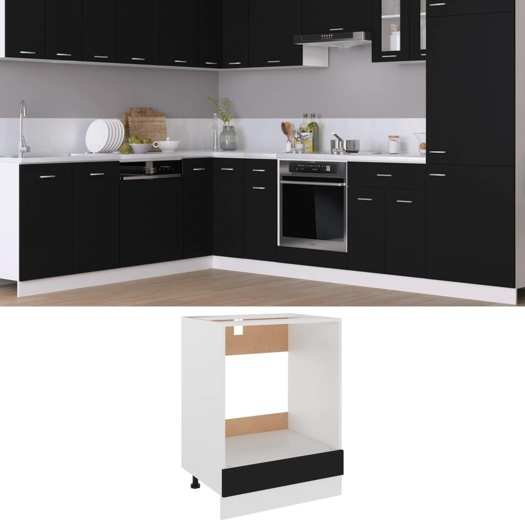 vidaXL Dulap pentru cuptor, negru, 60 x 46 x 81,5 cm, PAL vidaxl.ro