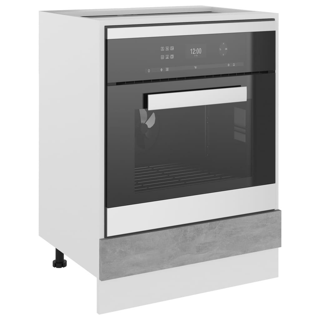 vidaXL Ovenkast 60x46x81,5 cm spaanplaat betongrijs