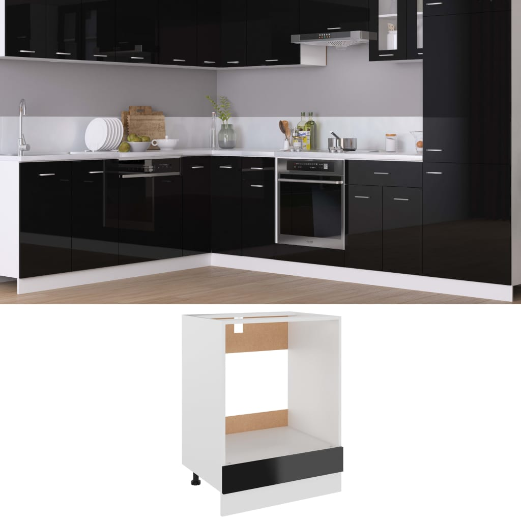 vidaXL Dulap pentru cuptor, negru extralucios, 60 x 46 x 81,5 cm, PAL poza 2021 vidaXL