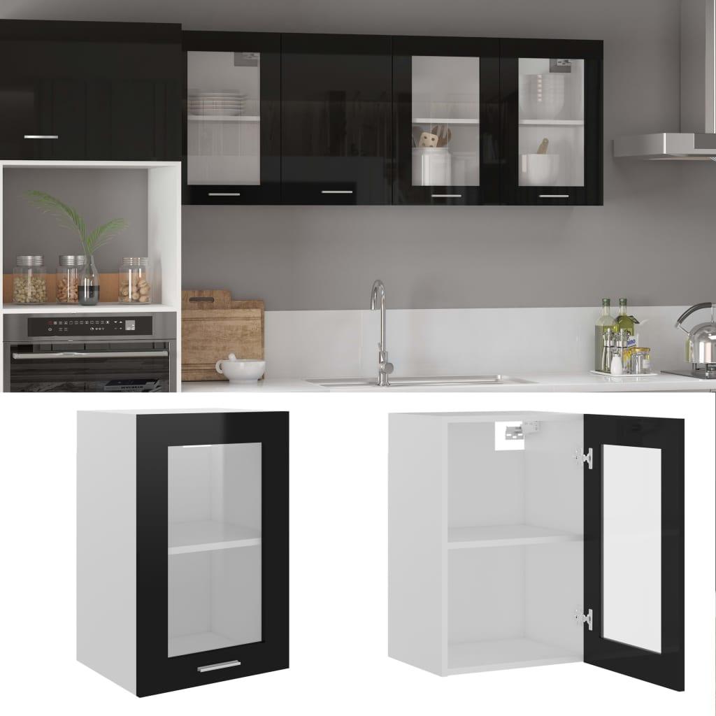 vidaXL Dulap de sticlă suspendat, negru extralucios, 40x31x60 cm, PAL poza 2021 vidaXL