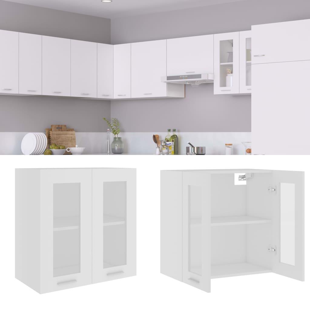 Horní skříňka prosklená bílá 60 x 31 x 60 cm dřevotříska