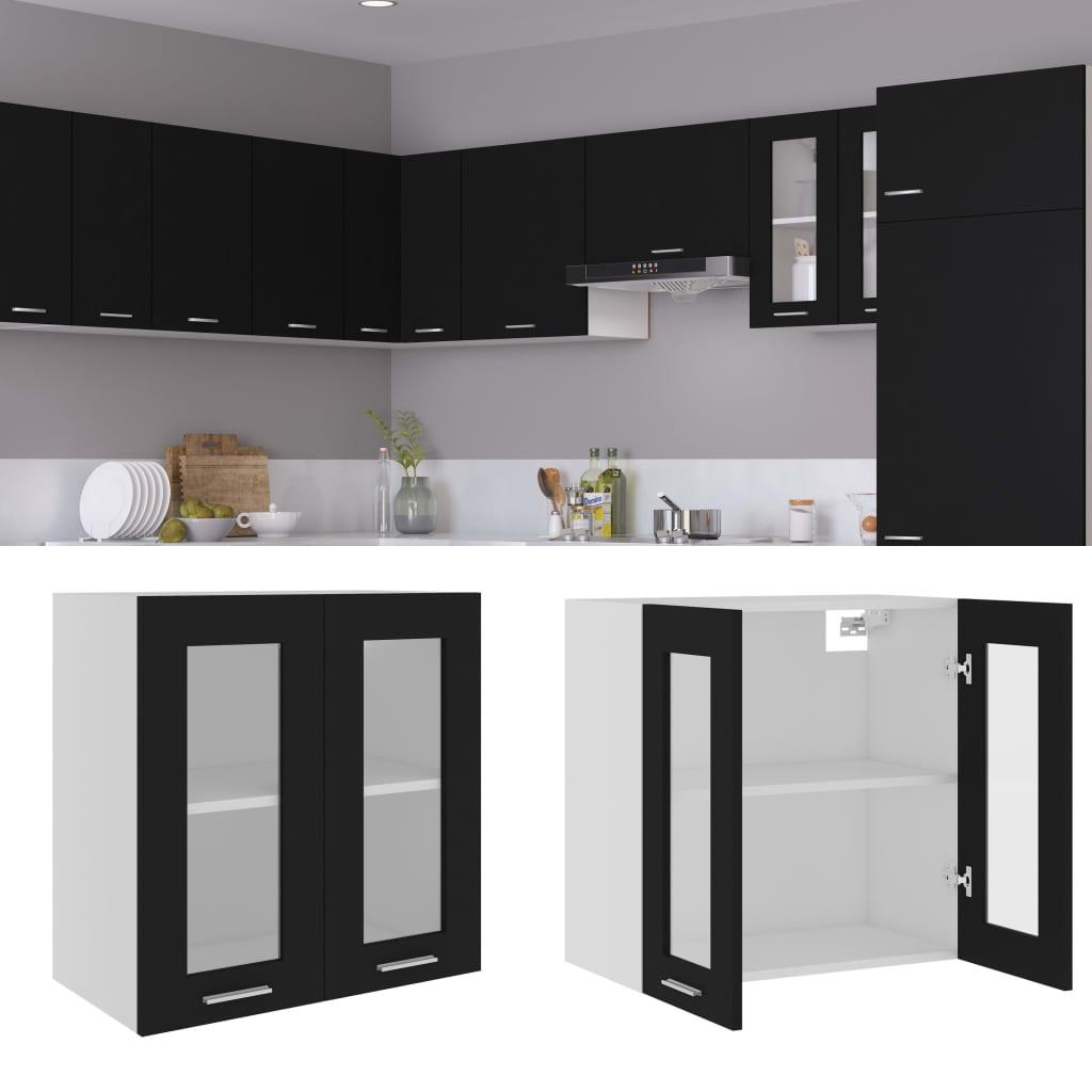 Horní skříňka prosklená černá 60 x 31 x 60 cm dřevotříska