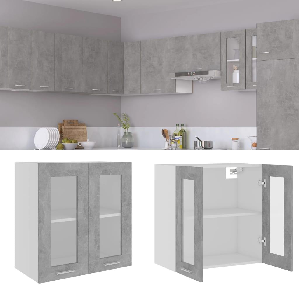 vidaXL Dulap suspendat de sticlă, gri beton, 60 x 31 x 60 cm, PAL vidaxl.ro