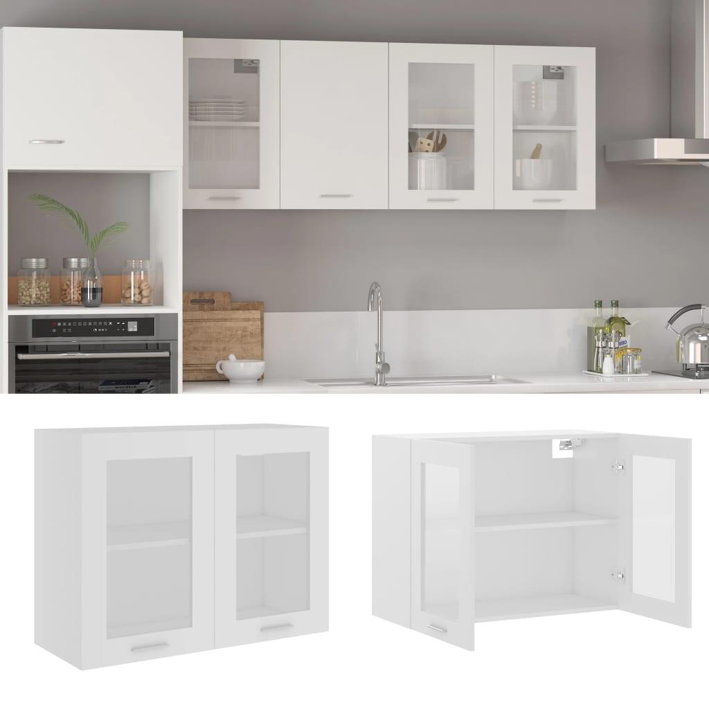 vidaXL Dulap suspendat din sticlă, alb, 80 x 31 x 60 cm, PAL poza 2021 vidaXL