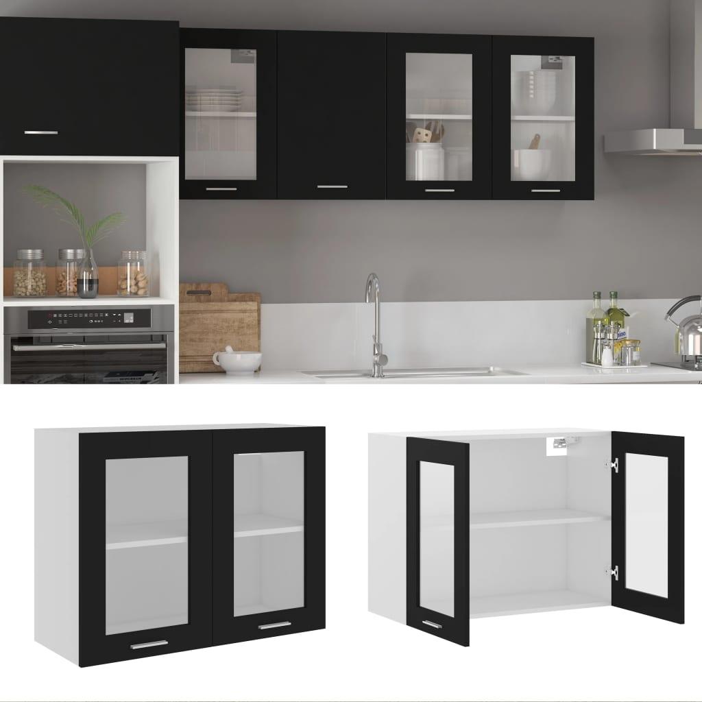 vidaXL Dulap de sticlă suspendat, negru, 80 x 31 x 60 cm, PAL poza 2021 vidaXL