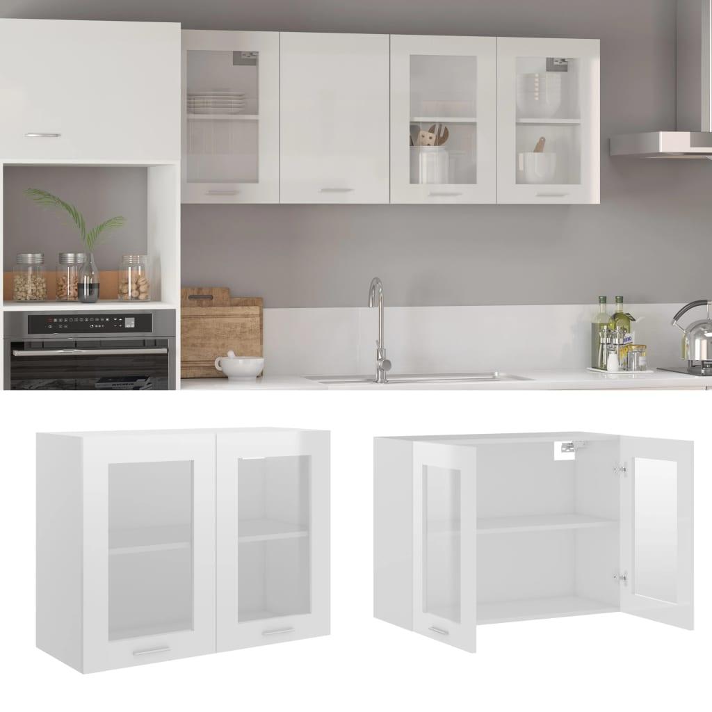 vidaXL Dulap suspendat din sticlă, alb extralucios, 80x31x60 cm, PAL poza 2021 vidaXL