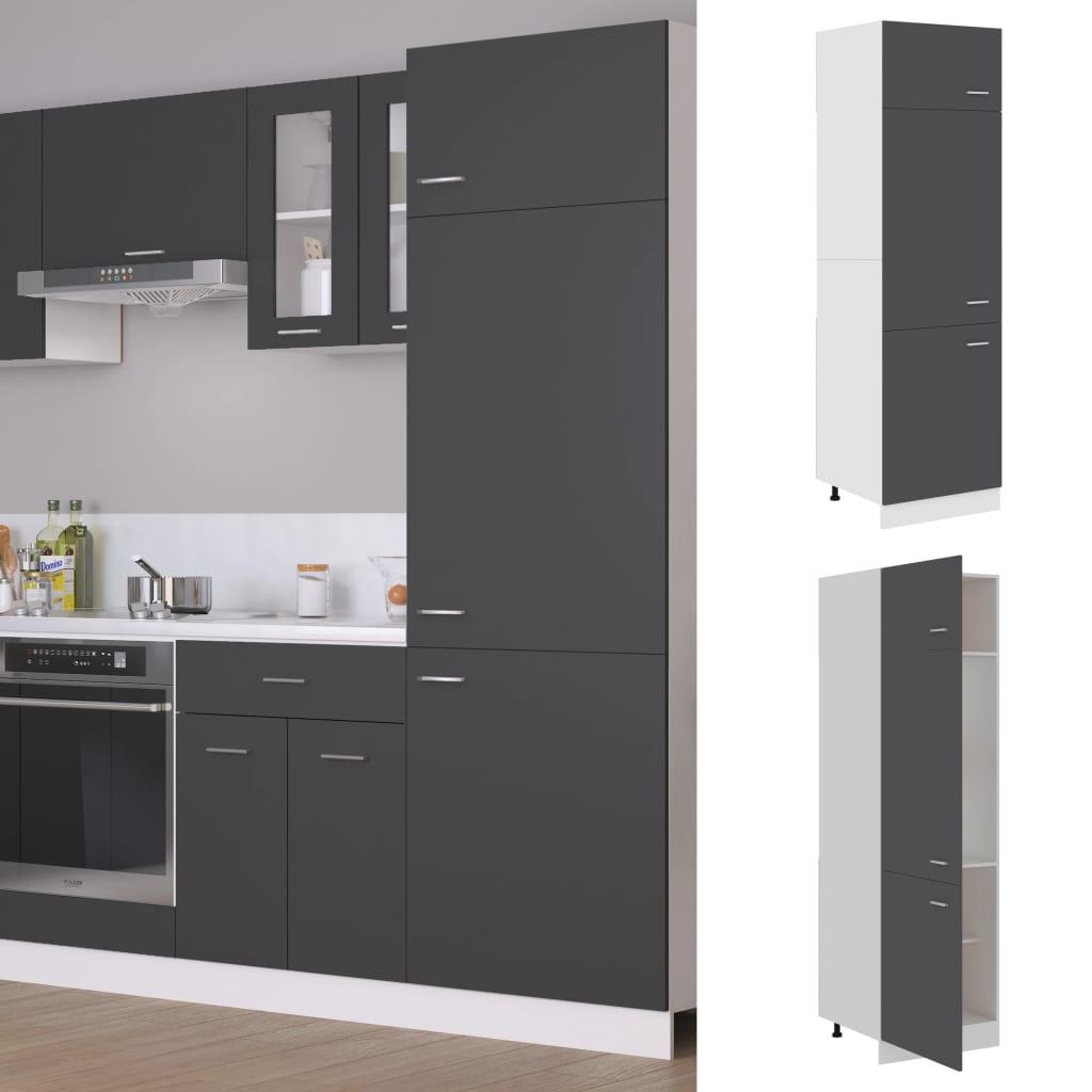 vidaXL Dulap pentru frigider, gri, 60 x 57 x 207 cm, PAL vidaxl.ro
