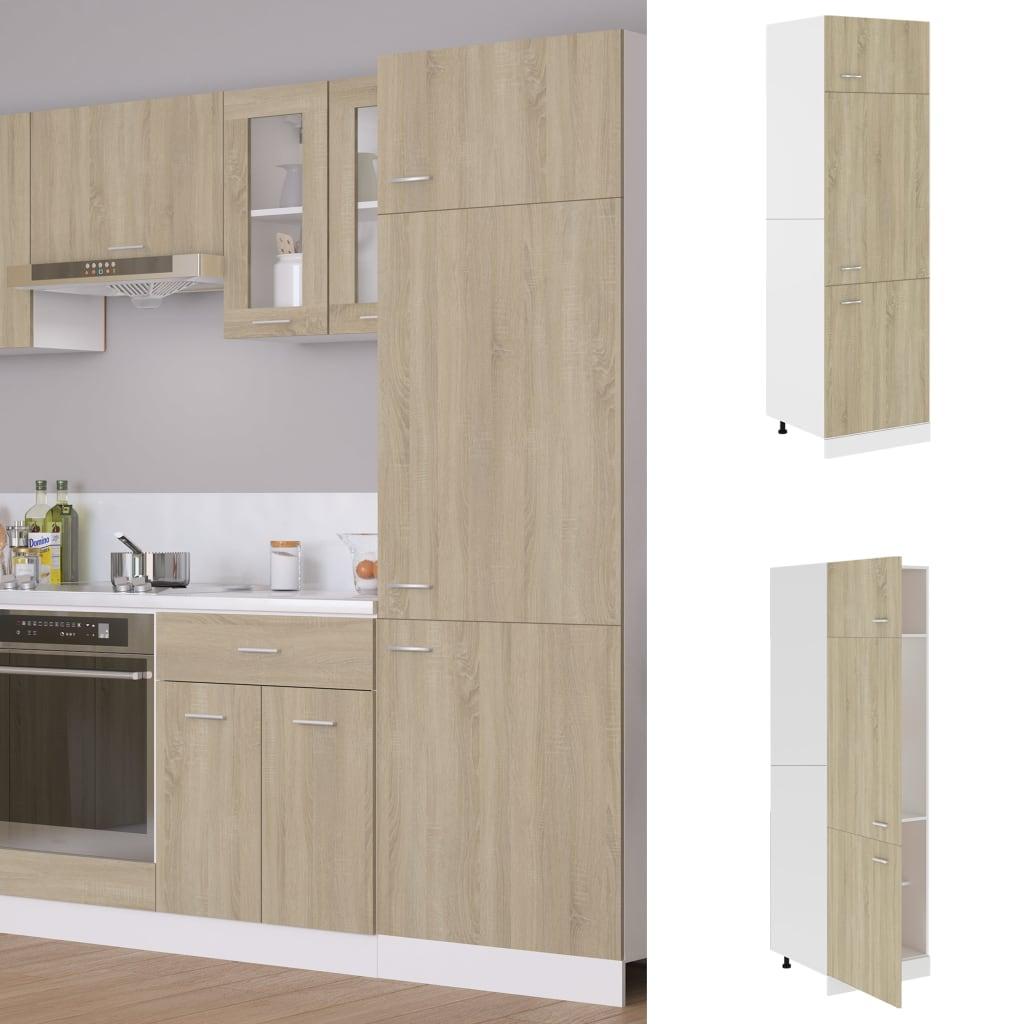 vidaXL Dulap pentru frigider, stejar Sonoma, 60 x 57 x 207 cm, PAL vidaxl.ro